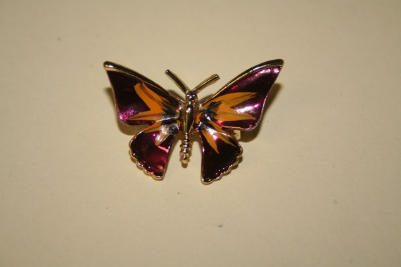 Vintage butterfly moth brooch purple and yellow