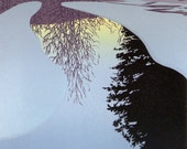 """Seven-color linocut print of winter dawn light on still water, entitled """"Ice Dawn"""""""