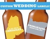 Custom Wedding Beer Labels - 24 Beer Labels for the Happy Couple