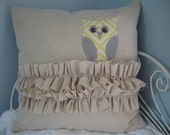 CUSTOM LISTING -Cotton Owl and Ruffle Pillow Cover