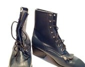 Cowtown All Leather Western Lace up Show Boots Mexico 7 1/2 B