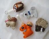 Felted woodland animals - hanging decoration, keyring, magnet or badge/brooch