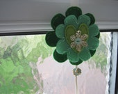 Spring Green felt flowers hanging decoration with bead, button and ribbon design detail