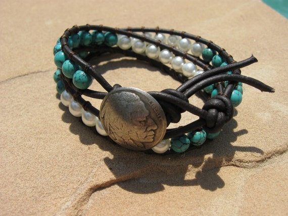 Turquoise - Pearl  Leather Wrap