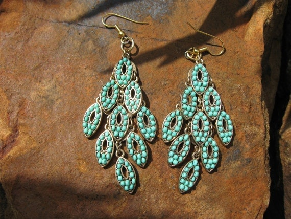Boho Turquoise Chandelier Earrings