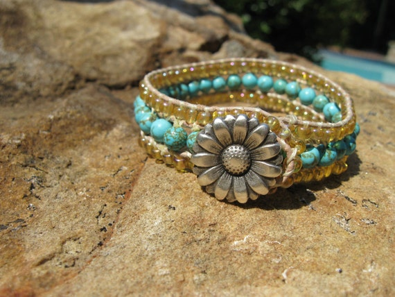 Sand and Sea Bohemian Beaded Cuff