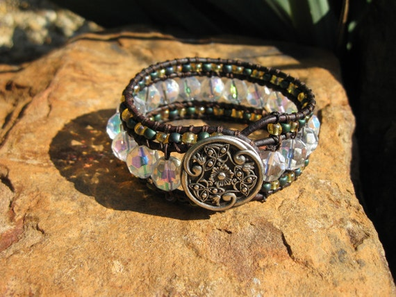 Leather cuff bracelet  'ICE'  -  champagne and metalic blue, sparkly boho glam