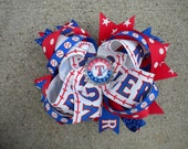 BIG Texas Rangers boutique style bow