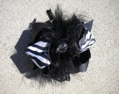 Feathery bling black and white zebra hair bow