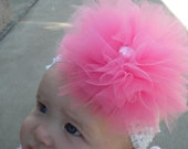 Adorable pink tulle bow with light pink gem