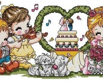 Digital downloadable PDF file counted aida cross stitch wedding pattern KD005  242 x 97 stitches