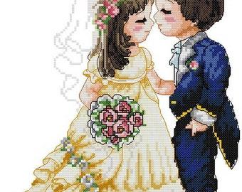 digital downloadable PDF file counted aida cross stitch wedding pattern baby pattern KK132 107 x 115 stitches