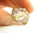 Sterling Silver Faceted Citrine and Lavender Lepidolite - Abundance Charm , Wire Wrapped Ring, Size 7.5 (Any Size)(398)