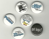 "Set of 6 skepticisim themed 1"" Pinback buttons (mature)"