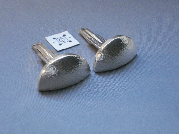 Modernist Cuff Links Finely Hand-Hammered All SS Professional Style - Stamped w Regist'd StudioCLD Logo -  Shipping Included to Lower USA