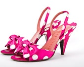 divine vintage 1980s pretty woman WALTER STEIGER fuschia silk bow polka dot cone heels - shopCaraMiaVintage
