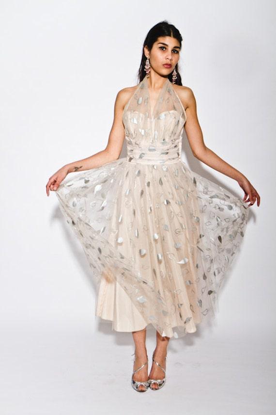 divine vintage 1950's tulle halter gown prom dress with foiled leaf print