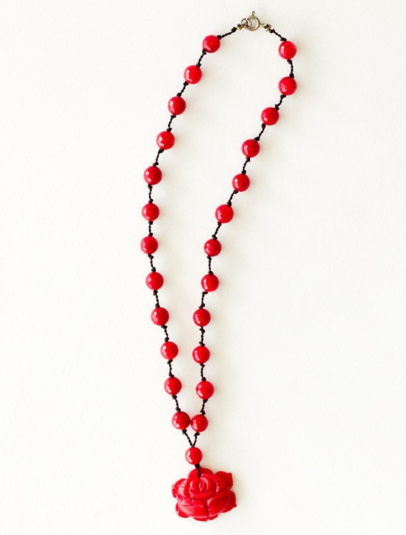 vintage 1940s rosary carved coral & bead rose pendant necklace silk cord