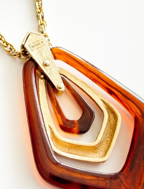 fabulous vintage 1970s AVON long gold chain tortoiseshell brushed gold necklace
