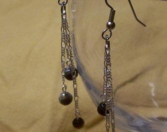 Black Onyx Earrings on Fine Chain