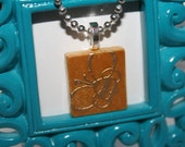 """Scrabble Tile Necklace- """"Honey Bee""""- Embossed Bumble Bee in Gold- Necklace with Ball Chain"""