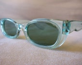 Sea Foam Green Cateye sunglasses with green tinted lenses vintage 1950's or 1960's