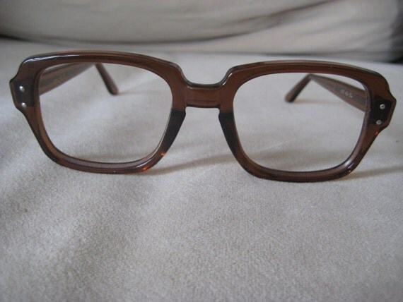 USS Mad Men era Nerdy eyeglasses frames with brown thick frames metal detail at temple