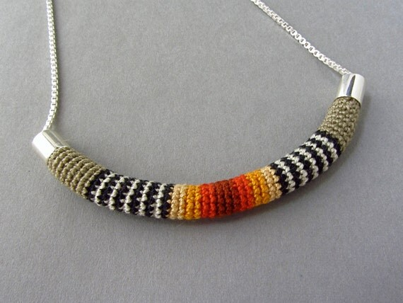 Crocheted Necklace, Silver Chain and Cotton, In Fall Colors