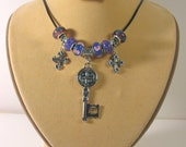 Beautiful Summer Key, Crosses and Glass Beads Real Leather Necklace N435