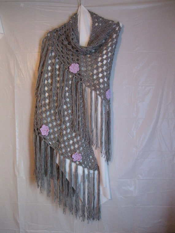 Silver Gray Prayer Shawl With Lavender Floral Motifs