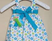 Girls flower Dress with 2 ribbons
