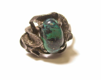 Sterling Silver Dark Oval Turquoise Ring Size 6.5 - Southwestern - Green Turquoise - Weight 10.1 Grams # 345
