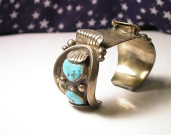 Sterling Silver and Turquoise Large Watch Cuff - Watch Band - Weight 138 Grams - Southwestern - Native American - Boho # 156