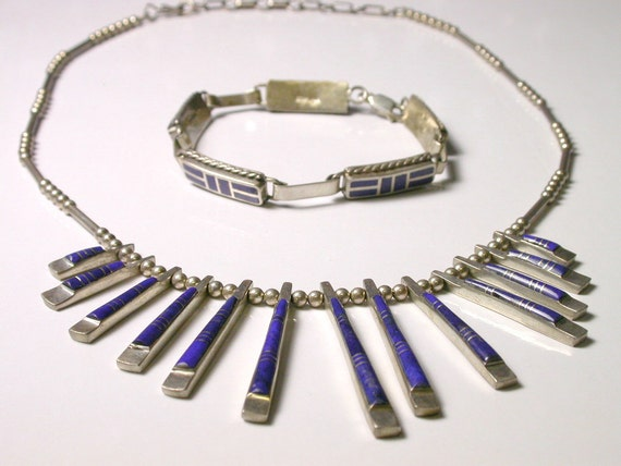 Reserved Sterling Silver and Blue Lapis Necklace and Bracelet Set