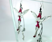 Fairy Tinkerbelle Angel Enamel Silver Plated Earrings in red color with two metal clefs hanging by wax rope