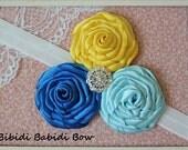 Baby girl headband-Yellow, royal blue, Lt blue headband.. photo prop - handcrafted headband - toddlers and girls headband