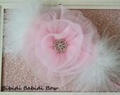 Baby girl headband- Lt Pink flower headband.. Newborn photo prop - handcrafted headband - flower girl headband