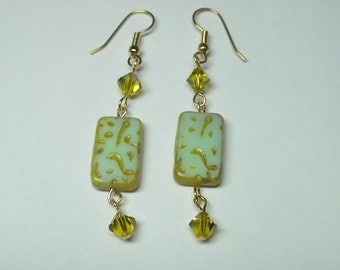 Lime Green Earrings with Swarovski lime crystals