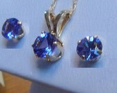 Natural genuine Tanzanite Necklace and Earrings Set Real Solid Gold