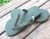 Flip Flops - Olive Green Glass Beads hand-embroidered
