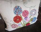 Yo Yo Flower Bouquet Decorative Pillow - READY to SHIP