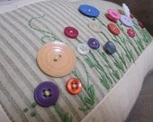 Button Flower Garden Decorative Pillow, Accent Pillow, Flower Pillow - ONE of a KIND - Ready to Ship