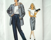 Vintage Vogue Stylish Suit Pattern 9951, Pants, Top, Skirt and Jacket, Very Easy, Very Vogue, 1980s