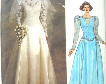 Vogue Bridal Original Pattern, Vogue 1519, Beautiful Fitted Top and Full Skirt, Bridal Elegance