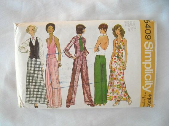 Vintage Wardrobe Pattern, Simplicity 5409, Blouse, Halter-Vest, Pants and Skirt, Mod, 1970s