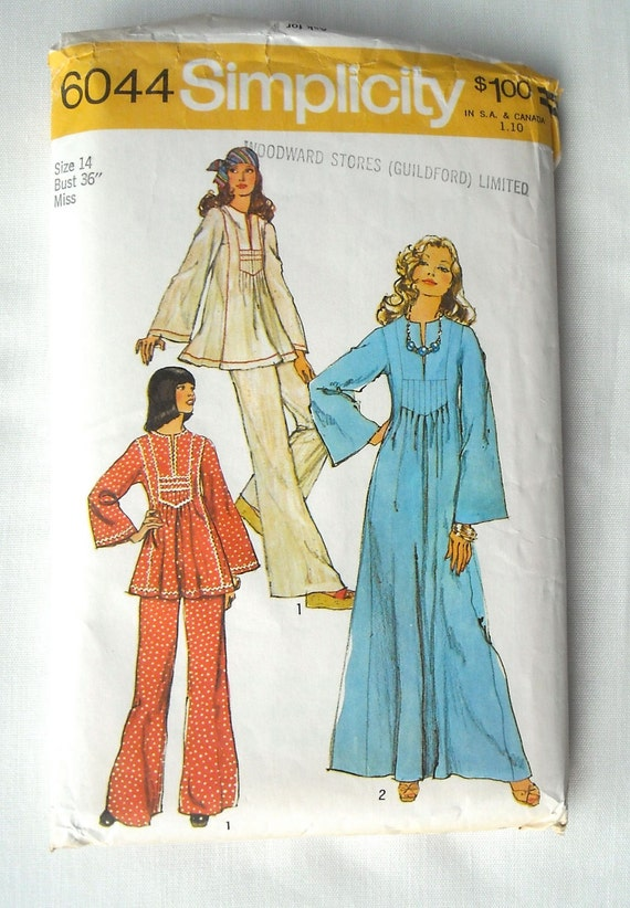 Vintage Caftan Pattern, Simplicity 6044, Two Lengths and Pants, Very Boho Chic, 1970s