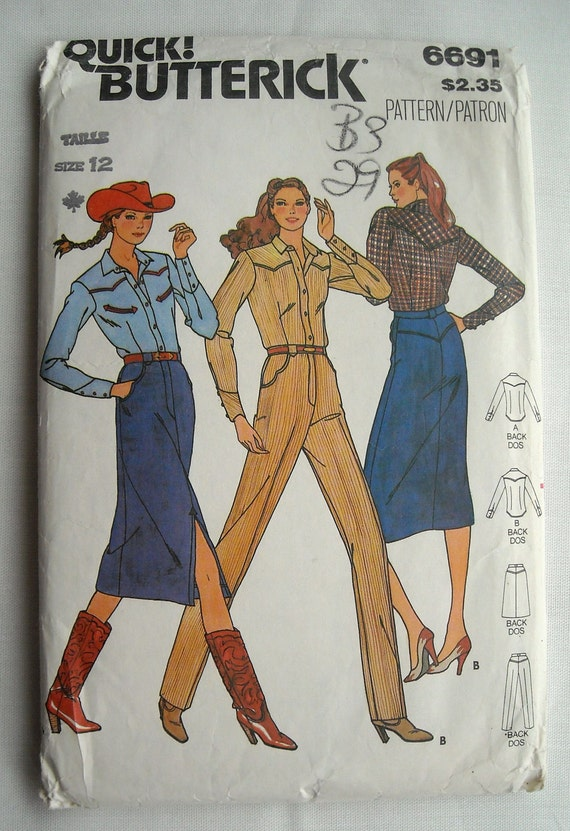 Western Cowgirl Shirt, Pants and Skirt Pattern, Butterick 6691, Very Stylish