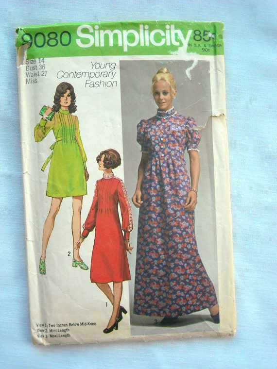 Vintage Three Length Dress Pattern, Front Tucked Bodice, Simplicity 9080, 1970s