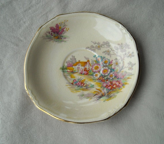 Sweet Vintage Royal Winton China Plate, Made in England, English Cottage Scene, Shabby Chic, 1950s