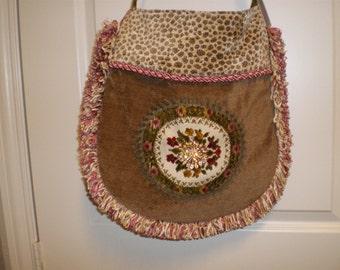 Sold Large handbag with vintage cut velvet doily